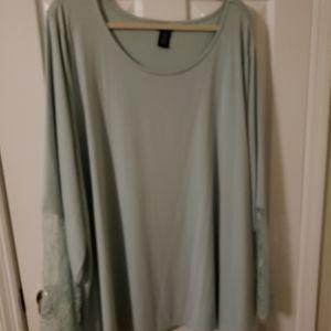 Aqua bell sleeve blouse